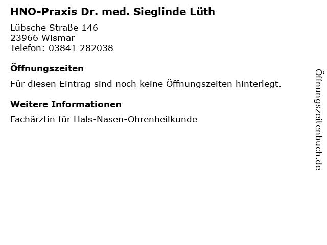 HNO-Praxis Dr. med. Sieglinde Lüth in Wismar: Adresse und Öffnungszeiten