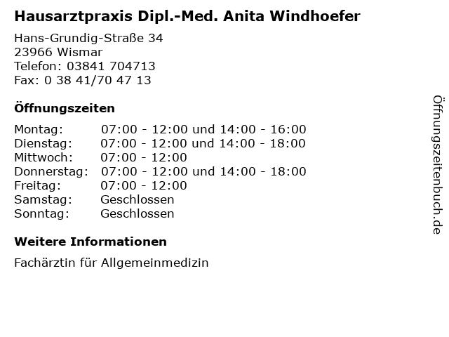 Hausarztpraxis Dipl.-Med. Anita Windhoefer in Wismar: Adresse und Öffnungszeiten
