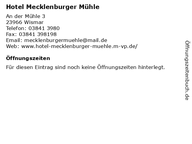 ᐅ Offnungszeiten Hotel Mecklenburger Muhle An Der Muhle 3 In Wismar