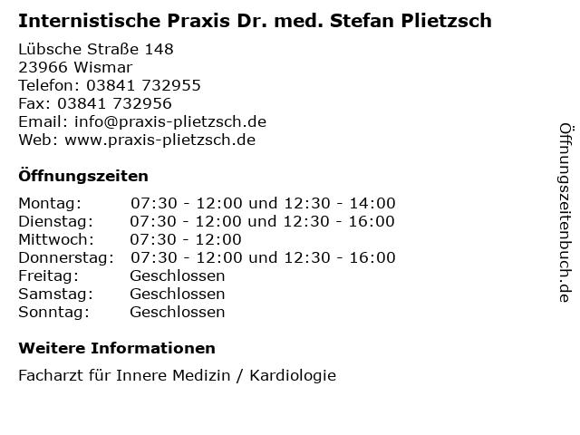 Internistische Praxis Dr. med. Stefan Plietzsch in Wismar: Adresse und Öffnungszeiten