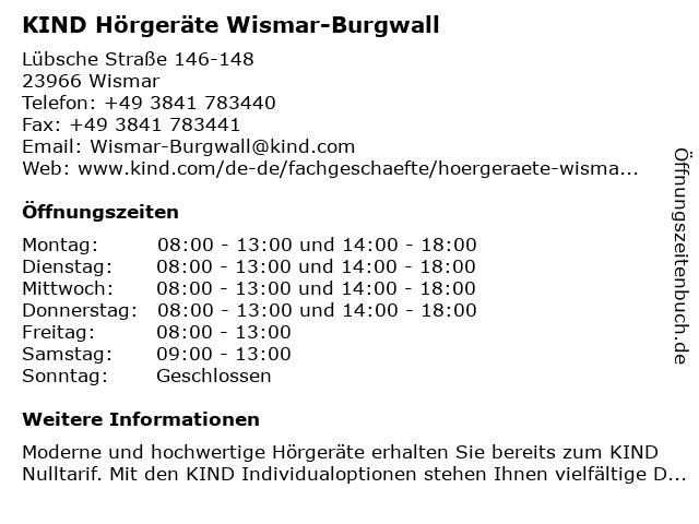 KIND Hörgeräte GmbH & Co. KG in Wismar: Adresse und Öffnungszeiten