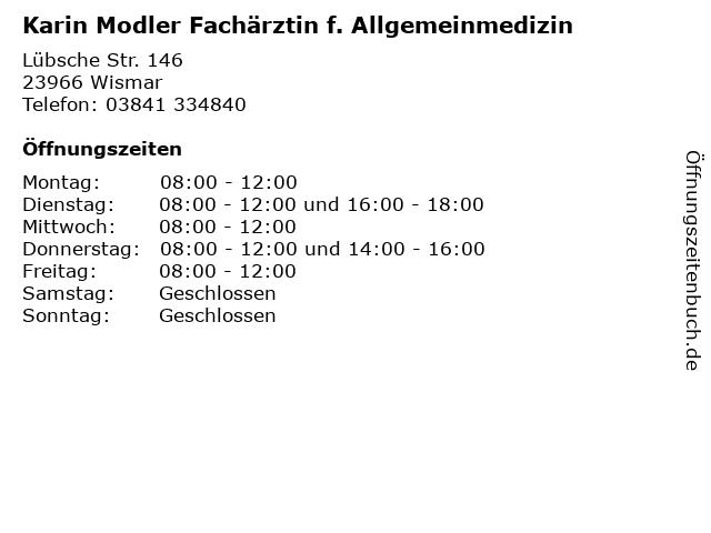 Karin Modler Fachärztin f. Allgemeinmedizin in Wismar: Adresse und Öffnungszeiten