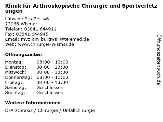 Klinik für Arthroskopische Chirurgie und Sportverletzungen in Wismar: Adresse und Öffnungszeiten