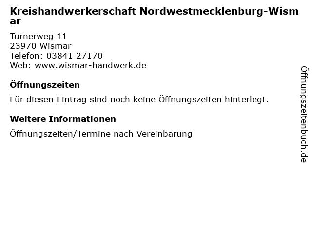 Kreishandwerkerschaft Nordwestmecklenburg-Wismar in Wismar: Adresse und Öffnungszeiten