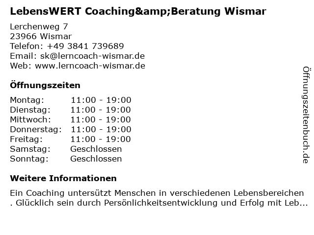 LebensWERT Coaching&Beratung Wismar in Wismar: Adresse und Öffnungszeiten