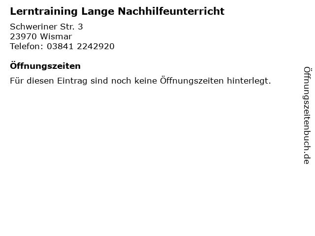 Lerntraining Lange Nachhilfeunterricht in Wismar: Adresse und Öffnungszeiten