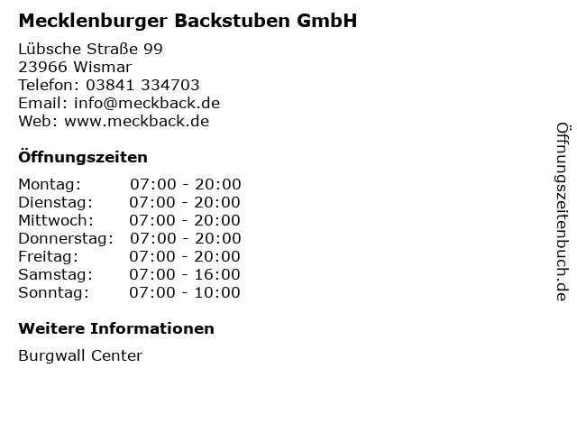 Mecklenburger Backstuben GmbH in Wismar: Adresse und Öffnungszeiten