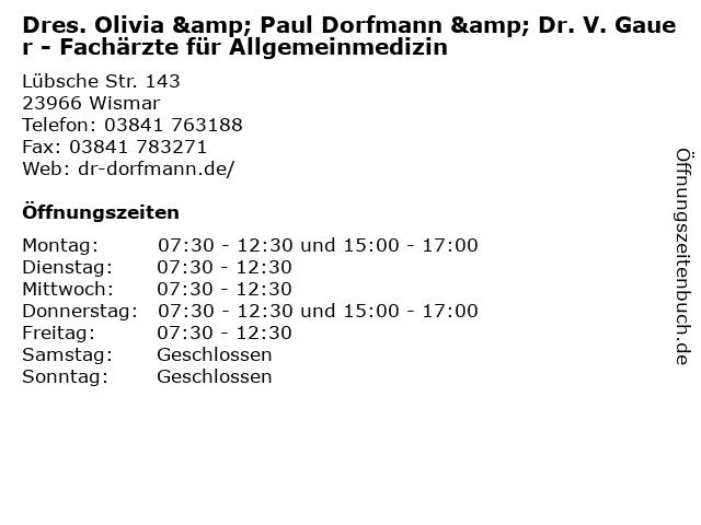 Michel Albrecht Dr.med. Arztpraxis Allgemeinmedizien in Wismar: Adresse und Öffnungszeiten