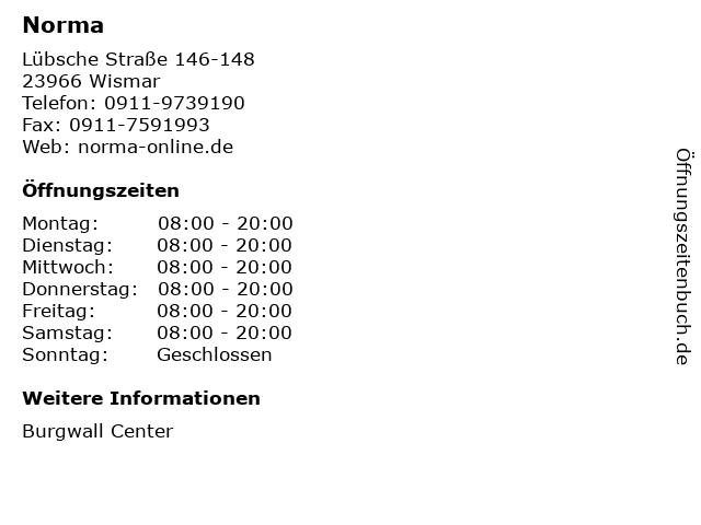 Norma Lebensmittelfilialbetrieb Stiftung & Co. KG in Wismar: Adresse und Öffnungszeiten