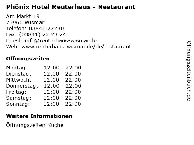Phönix Hotel Reuterhaus - Restaurant in Wismar: Adresse und Öffnungszeiten