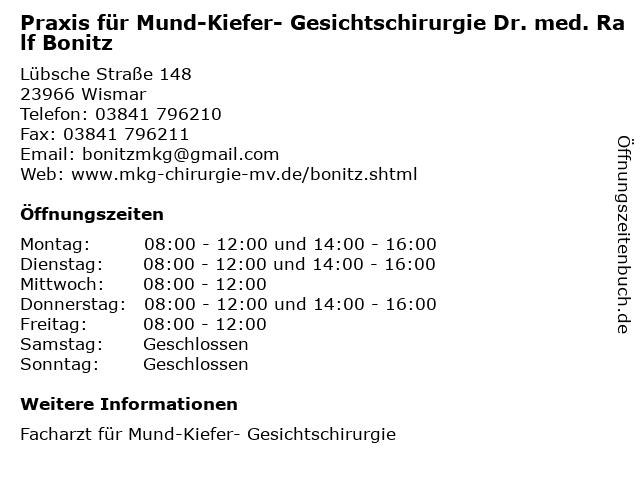 Praxis für Mund-Kiefer- Gesichtschirurgie Dr. med. Ralf Bonitz in Wismar: Adresse und Öffnungszeiten