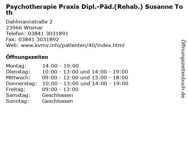 Psychotherapie Praxis Dipl.-Päd.(Rehab.) Susanne Toth in Wismar: Adresse und Öffnungszeiten
