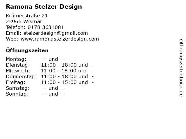 Ramona Stelzer Design in Wismar: Adresse und Öffnungszeiten