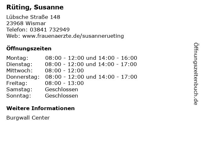 Rüting, Susanne in Wismar: Adresse und Öffnungszeiten