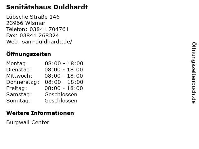 Sanitätshaus Duldhardt in Wismar: Adresse und Öffnungszeiten