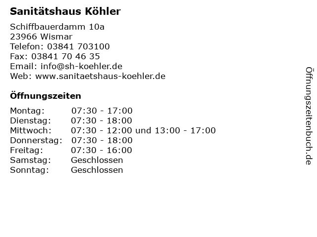 Sanitätshaus Köhler in Wismar: Adresse und Öffnungszeiten