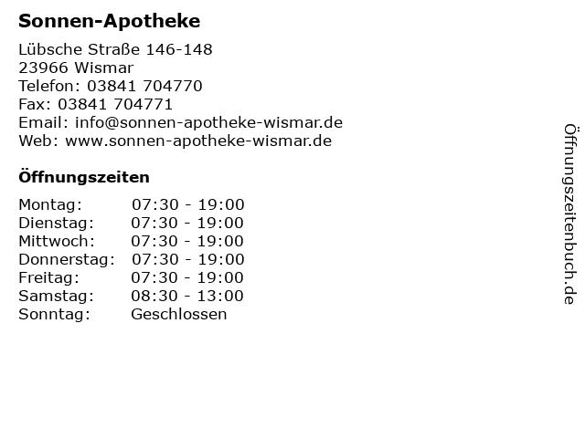 Sonnen-Apotheke Wismar in Wismar: Adresse und Öffnungszeiten