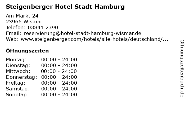 Steigenberger Hotel Stadt Hamburg in Wismar: Adresse und Öffnungszeiten