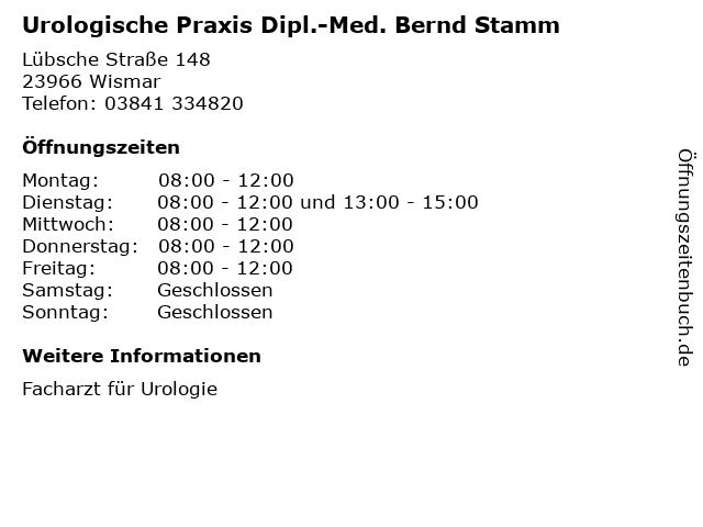 Urologische Praxis Dipl.-Med. Bernd Stamm in Wismar: Adresse und Öffnungszeiten