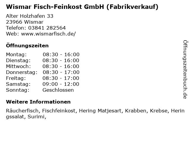 Wismar Fisch-Feinkost GmbH (Fabrikverkauf) in Wismar: Adresse und Öffnungszeiten