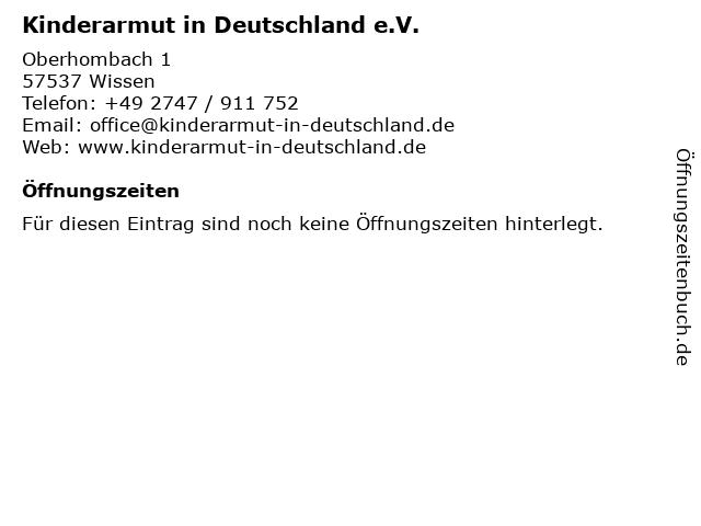 Kinderarmut in Deutschland e.V. in Wissen: Adresse und Öffnungszeiten