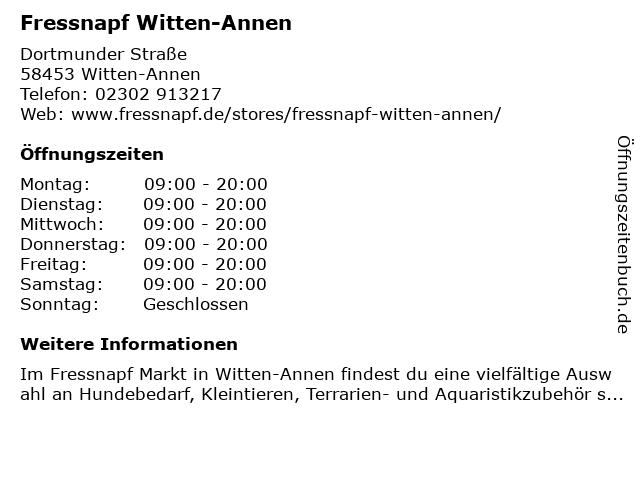 Fressnapf Witten-Annen in Witten-Annen: Adresse und Öffnungszeiten