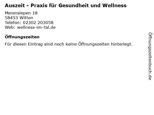 Auszeit - Praxis für Gesundheit und Wellness in Witten: Adresse und Öffnungszeiten