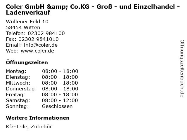 Coler GmbH & Co.KG - Groß - und Einzelhandel - Ladenverkauf in Witten: Adresse und Öffnungszeiten