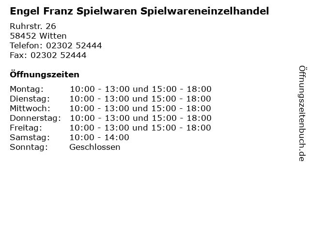 Engel Franz Spielwaren Spielwareneinzelhandel in Witten: Adresse und Öffnungszeiten
