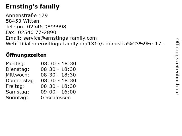 Ernsting's family in Witten: Adresse und Öffnungszeiten