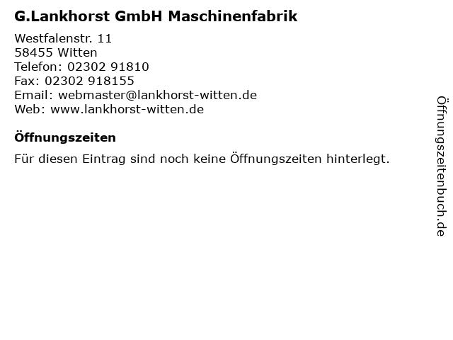 G.Lankhorst GmbH Maschinenfabrik in Witten: Adresse und Öffnungszeiten