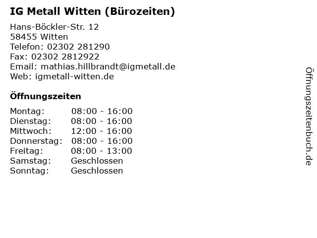 IG Metall Witten (Bürozeiten) in Witten: Adresse und Öffnungszeiten