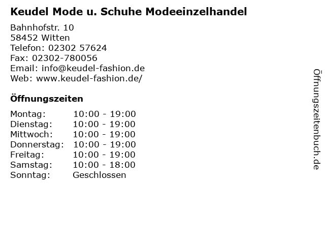 Keudel Mode u. Schuhe Modeeinzelhandel in Witten: Adresse und Öffnungszeiten