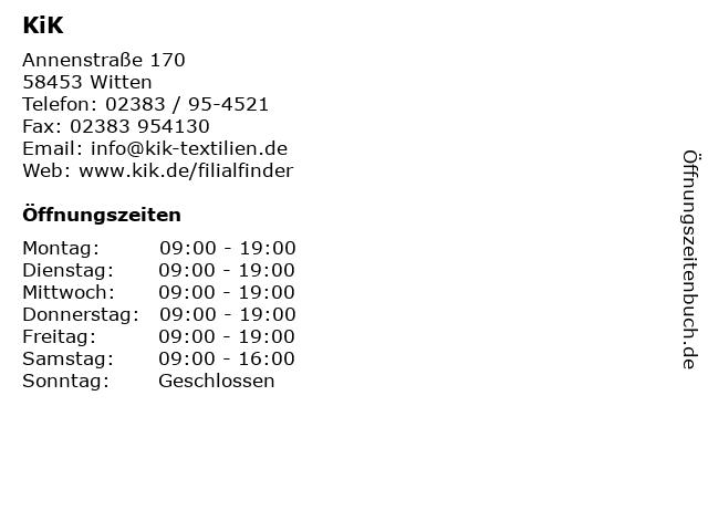 KiK in Witten: Adresse und Öffnungszeiten