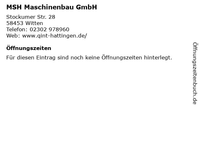 MSH Maschinenbau GmbH in Witten: Adresse und Öffnungszeiten