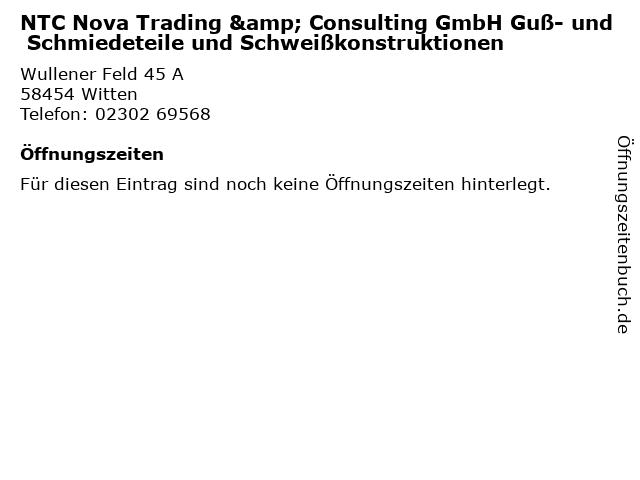 NTC Nova Trading & Consulting GmbH Guß- und Schmiedeteile und Schweißkonstruktionen in Witten: Adresse und Öffnungszeiten