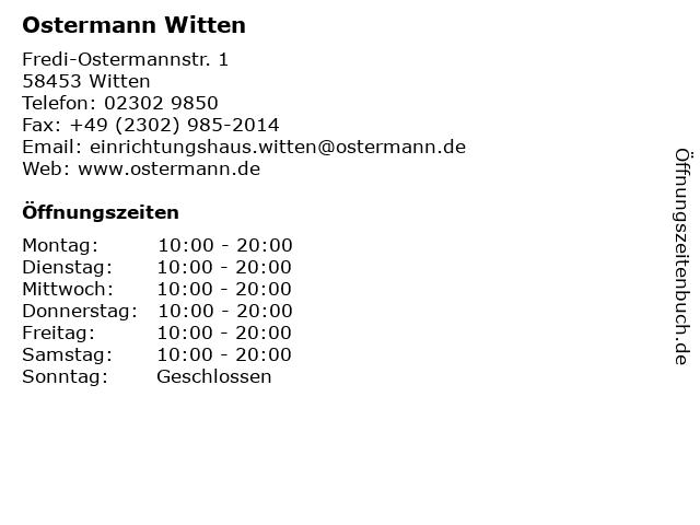 ᐅ öffnungszeiten Ostermann Witten Fredi Ostermannstr 1 In Witten