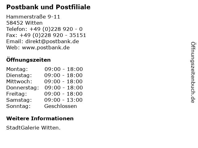 Deutsche Post AG Postbank Finanzcenter in Witten: Adresse und Öffnungszeiten
