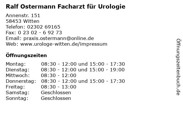 ᐅ öffnungszeiten Ralf Ostermann Facharzt Für Urologie Annenstr