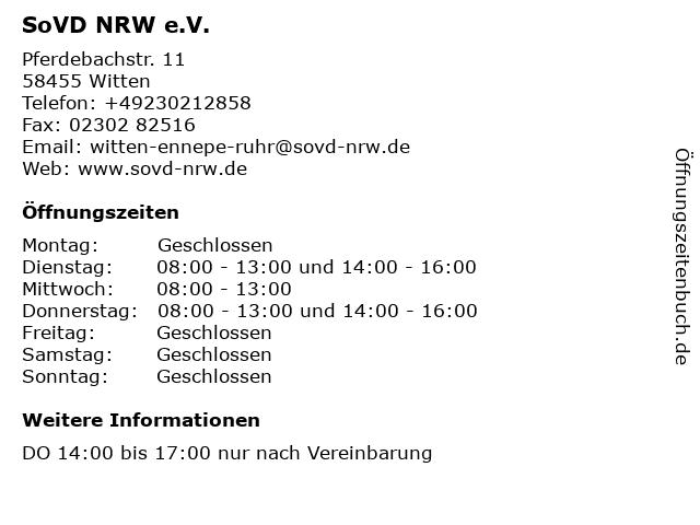SoVD NRW e. V: Kreisverband Witten in Witten: Adresse und Öffnungszeiten