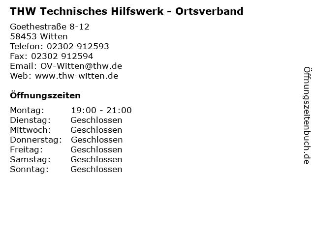 THW Technisches Hilfswerk - Ortsverband in Witten: Adresse und Öffnungszeiten