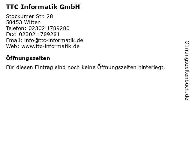 TTC Informatik GmbH in Witten: Adresse und Öffnungszeiten