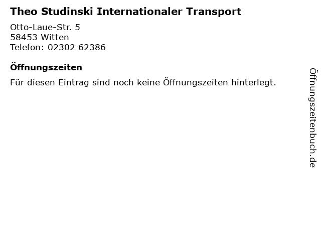 Theo Studinski Internationaler Transport in Witten: Adresse und Öffnungszeiten