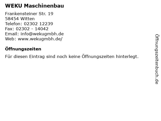 WEKU Maschinenbau in Witten: Adresse und Öffnungszeiten