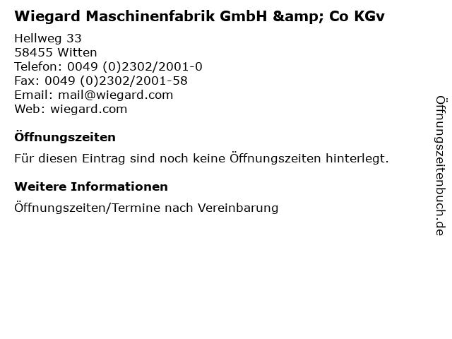 Wiegard Maschinenfabrik GmbH & Co KGv in Witten: Adresse und Öffnungszeiten