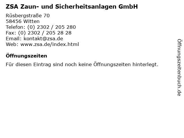 ZSA Zaun- und Sicherheitsanlagen GmbH in Witten: Adresse und Öffnungszeiten