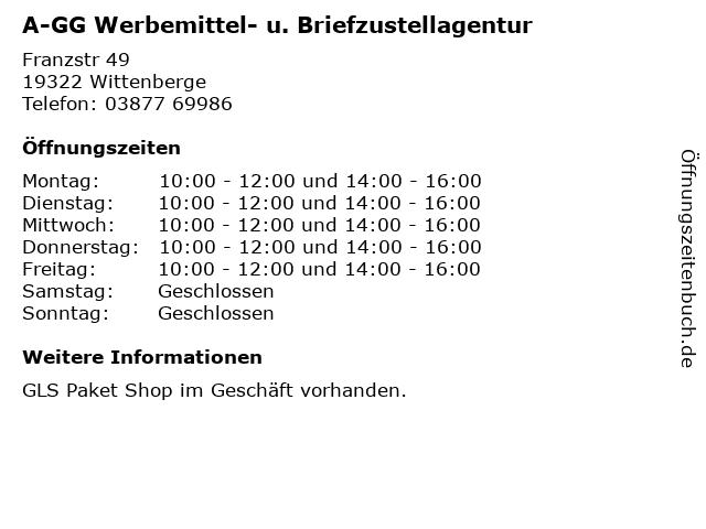A-GG Werbemittel- u. Briefzustellagentur in Wittenberge: Adresse und Öffnungszeiten