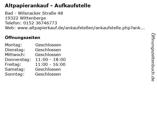 Altpapierankauf - Aufkaufstelle in Wittenberge: Adresse und Öffnungszeiten
