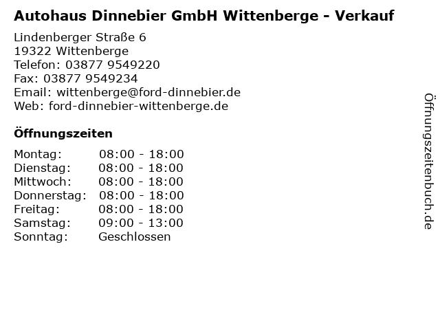 Autohaus Dinnebier GmbH Wittenberge - Verkauf in Wittenberge: Adresse und Öffnungszeiten