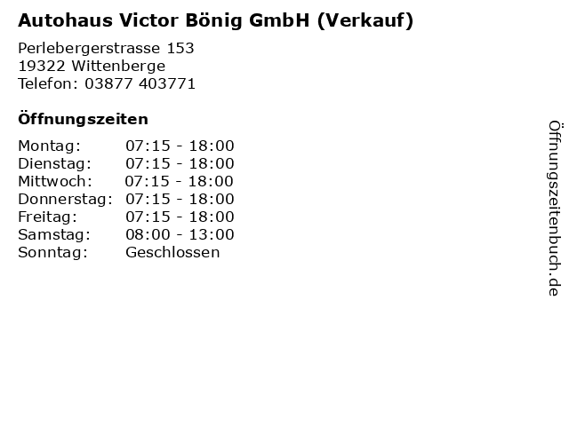 Autohaus Victor Bönig GmbH (Verkauf) in Wittenberge: Adresse und Öffnungszeiten